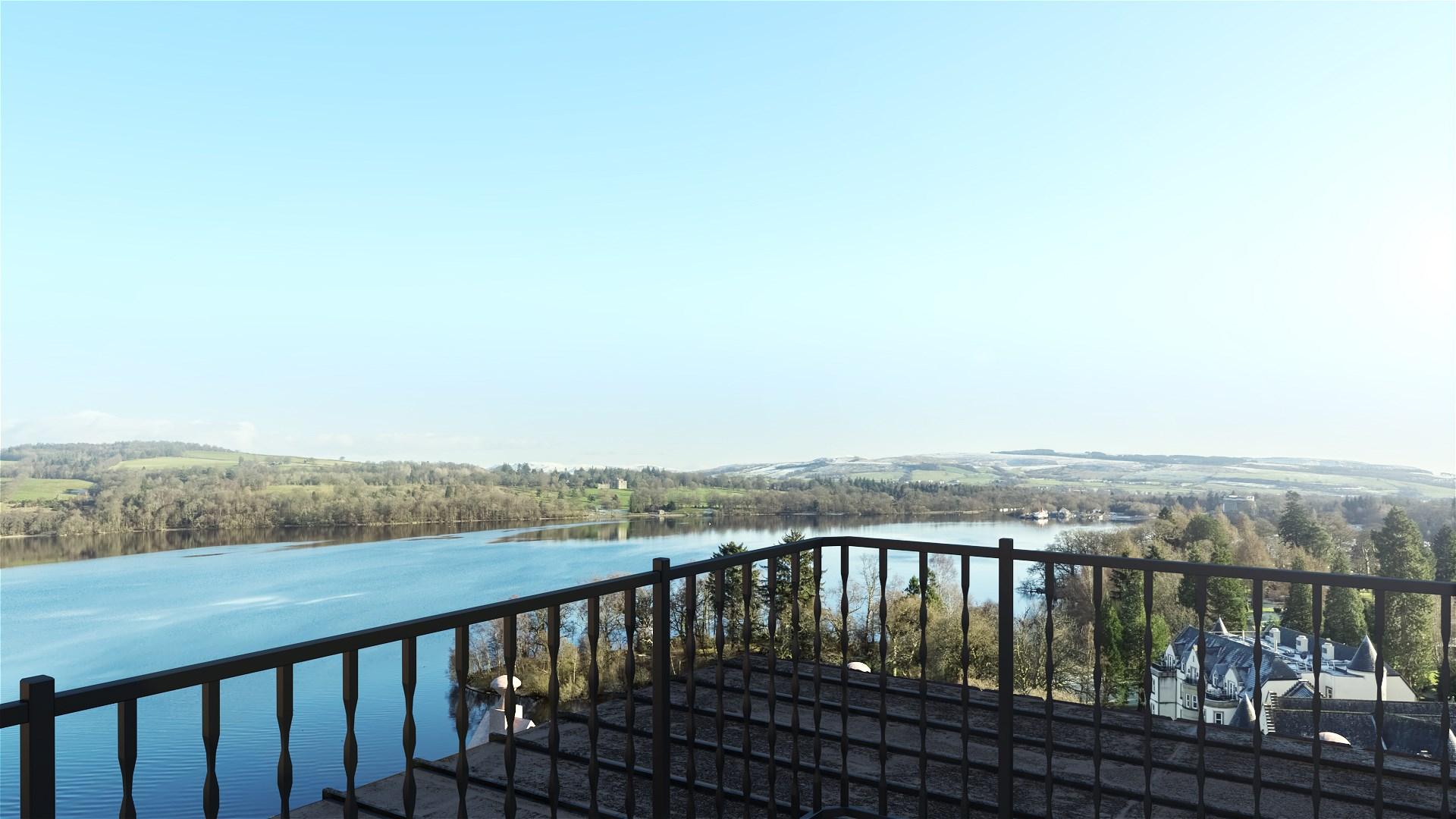 Balcony of penthouse suite overlooking loch lomond